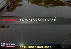 5.3L PERFORMANCE Hood Vinyl Decals Stickers Fits: Chevrolet Silverado GMC Sierra