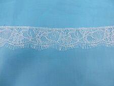 US SELLER- 3 meters double eyelash edges lace trim white 3.81cm wide