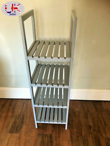 Grey Wooden 4 Tier Bath Towel Rack Shelves Storage Stand Holder Caddy Shelf Unit