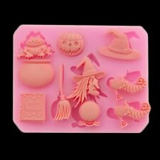Halloween Silicone Mould Mold Cake decor witch Pumpkin Chocolate Craft Broom