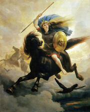 Ride Of The Valkyrie Viking Painting Myth Odin Valhalla Real Canvas Art Print ..