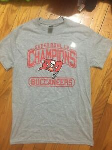 Super Bowl 55 Tampa Bay Buccaneers 2021 Champions Shirt Gray Grey Small Licensed