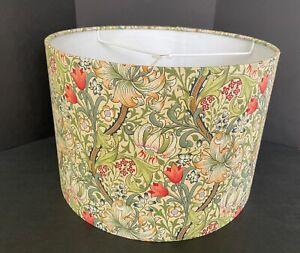 """custom William Morris 'Golden Lily' Fabric w/ white 12"""" drum style lampshade EUC"""