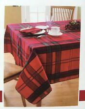 New Living Quarters Metallic Plaid Fabric Tablecloth 60 x 84 Red Green Christmas