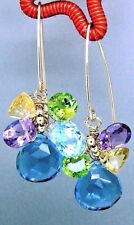 14k Gold GF London Blue Quartz Briolette Concave Gemstone Chandelier Earrings