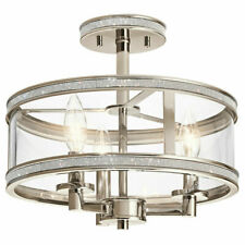 Kichler Polished Nickel Crystal Accents Clear Glass Semi-Flush Mount Light