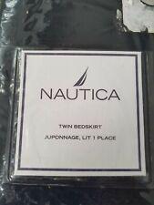 Nip Nautica Lansing Stripe Navy/Pink Cotton Twin Bed Skirt New