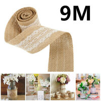 Wedding Party Decor Rustic Vintage Lace Edged Jute Hessian Burlap Ribbon Roll 9m