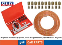 "Copper Brake Pipe Line Kit (10 x Nuts, 3/16"" Pipe and SEALEY Flaring Kit) AK505"