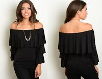 BELL SLEEVE BLACK OFF THE SHOULDER FLOUNCE GYPSY BARDOT PARTY TOP SIZE 8 10 12