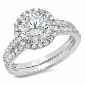 2.47 ct Round Cut Clear Stone 18k White Gold Halo Wedding Bridal Ring Band Set