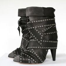 ISABEL MARANT studded leather wrap high heel Aleen Show Carnation boots 35 NEW