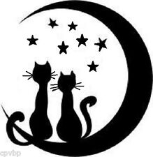 """Cats & Moon Decal Sticker for 8"""" Glass Block Shadow box"""