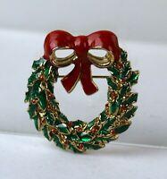 Vintage Gold Tone Enamel Christmas Wreath Brooch