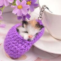 Women Girls Cat Sleeping Fluffy Keychains Pendant Purse Bag Key Chain Keyring LH