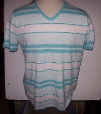 NEW HUGO BOSS light weight V neck  t shirt aqua turquoise white stripe sz  XL