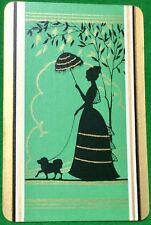 Playing Cards 1 Single Swap Card - Old Vintage UMBRELLA LADY GIRL Walking DOG