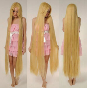 2021 Tangled Rapunze Super 150CM Long Wig Straight Blonde Cosplay Wig