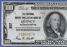 MA 1929 $100 ♚♚QUINCY,MASSACHUSETTS♚♚  W/ LOW S/N:F000007A