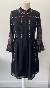 Whistles Amira Embroidered Shirt Dress Black Floral Festival Hippy Boho Size 10