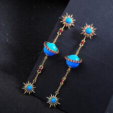 Boucles d'Oreilles Clous Doré Long Etoile Soleil Turquoise Bleu Rouge  XX27
