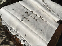Handgewebtes  grosses Leinen Tuch bestickt Namenszug/Spruch 160/57 cm  um 1900
