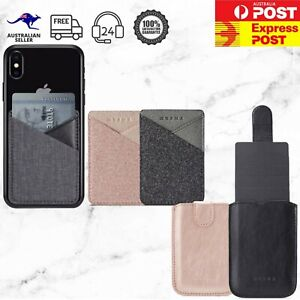 Canvas Leather Glitter Stick On 2/ 5 Cards ID Holder Wallet Adhesive Phone Case