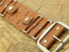 Tone Buckle Tan Leather Strap Nos 16mm Mens Vintage Unused Watch Band w Silver