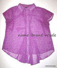 TORRID Womens PLUS 1 1X 14 16 Plum Dot Sheer SHIRT Top Flowy Hi Low Hem Purple