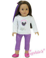 "Doll Clothes 18"" Pants Pug Tee Shirt White  Fits American Girl Dolls"