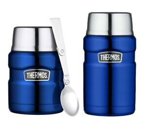 Thermos King Flask Vacuum Insulated Food Flask 470ml/710ml Metallic Blue