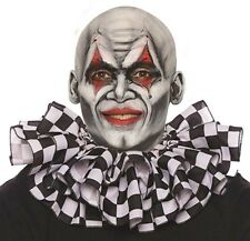 Black & White Checkered Clown Ruffled Collar Scary Funny Adult Costume Accessory