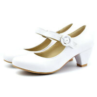 New Women Girls Comfort Classic Dress Pumps Ankle Strap Mary Jane Shoes Buckle