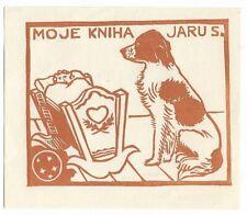 JAROSLAV VOJNA: Exlibris für Jaru S.; Hund vor Babywiege; 1941