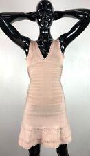 NWT Herve Leger Womens Blush A-Line Bandage Bodycon Cutout Trim Dress Size Small