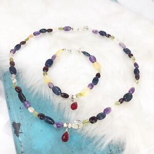 Sterling Silver Gemstone Necklace & Bracelet SET 925 Citrine Amethyst Garnet
