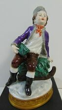 1762 ANTIQUE VOLKSTEDT PORCELAIN GERMANY HAND PAINTED MAN ON CHRISTMAS SLED