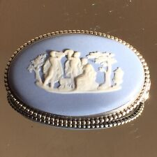 More details for wedgwood pottery vintage classical art scene oval brooch silver mount
