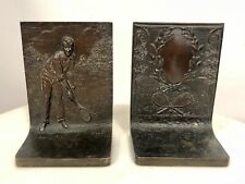 Pair of Antique Solid Bronze Griffoul Foundry Tennis Bookends Sports