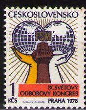 Czechoslovakia 1978 Sc2167  Mi2433 1v  mnh  9th World Trade Union Cong., Prague