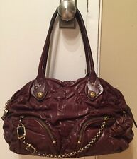JUICY COUTURE WOMEN'S BROWN RUCHED LEATHER CHAIN  SHOULDER BAG HANDBAG