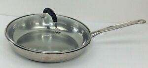 "Cuisinart Professional Series 10"" Stainless Steel Skillet Model 722-24 Glass Lid"
