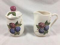 VINTAGE KNOTTS BERRY FARM SUGAR/JAM JAR & CREAMER/SYRUP PITCHER Pottery Ceramic