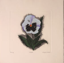 DAN MITRA ETCHING, PANSY, HAND COLORED, LISTED Artist, VINTAGE NEWMAN GALLERIES