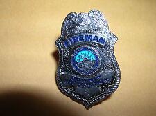 "DOWNEY California FIREMAN Fire Dept 1"" Mini Silver Badge PIN Tie Tac 1"""