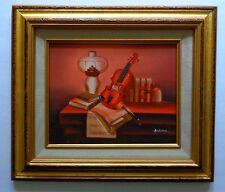 Still Life with Violin and Books on Table Oil Painting Original Signed Artist