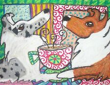 Sheltie Drinking Coffee Shetland Sheepdog Art Print 8x10 Signed Dog Collectible