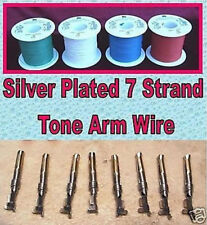 4 x Colour Tone Arm Rewire Kit Silver-Plated 7 Strand, Tags & Sleeving 4 x 1.5 M