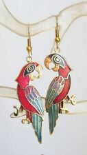 Lively Colorful Red Cloisonne Enamel Parrot Earrings 1970s vintage