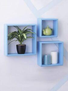 Floating Wall Shelves Storage Display Shelf Contemporary Organizer Set of 3 Cube